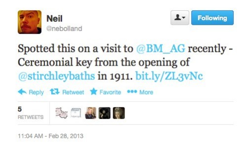 a tweet from nebooland about strichley  baths.