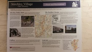 One of the many history boards telling the story of Stirchley village.