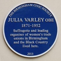 Blue plaque for Julia Varley, trade unionist and suffragette  Hay Green lane, Bournville
