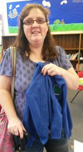 Stirchley Primary School caretaker popped in to donate a cardigan.