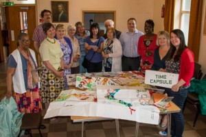 St Andrews congregation with the contents of the old time capsule.