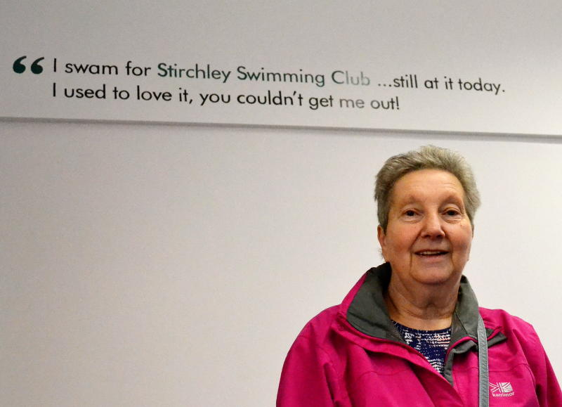 Former Swimming Club member Sandra with her quote on the wall of the Cinema Room