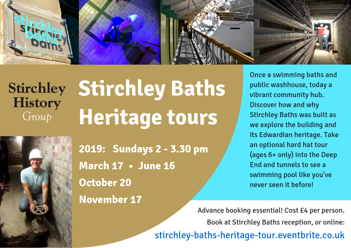 Stirchley Baths Heritage tours 2019: 2 - 3.30 pm on Sundays March 17, June 16, October 20, November 17