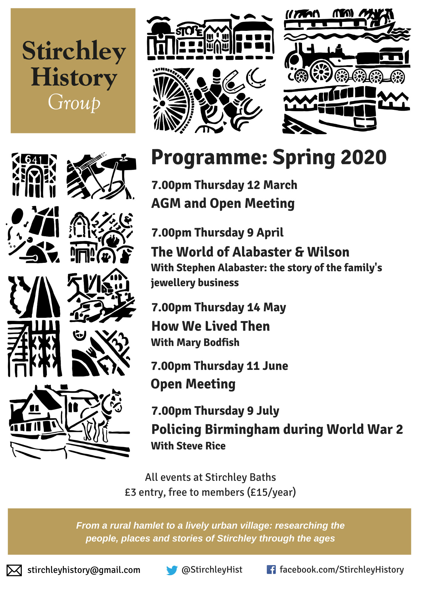 Stirchley History Group programme for Spring 2020